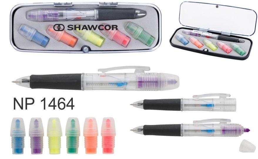 NP1464: Tri-Colour Pen & Highlighter Set